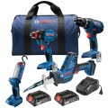 18V 4-Tool Combo Kit with Compact Tough 1/2 In. Drill/Driver, 1/4 In. and 1/2 In. Two-In-One Bit/Socket Impact Driver, Compact Reciprocating Saw, LED Worklight and (2) 2.0 Ah SlimPack Batteries