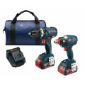 18V 2-Tool Combo Kit with 1/4 In. and 1/2 In. Two-In-One Bit/Socket Impact Driver, Compact Tough 1/2 In. Hammer Drill/Driver and (2) 4.0 Ah FatPack Batteries