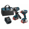 18V 2-Tool Combo Kit with 1/4 In. and 1/2 In. Two-In-One Bit/Socket Impact Driver, Brute Tough 1/2 In. Drill/Driver and (2) 4.0 Ah FatPack Batteries
